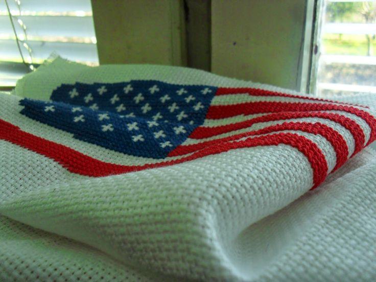 Robótkowy Świat Kasi: Flaga USA - punkt 2 z Hafciarskiej Listy Życzeń