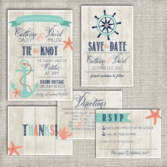 Wedding Invitation Suite Set DEPOSIT - Personalized, Digital, Printable, Custom, DIY - NAUTICAL, Beachy, Rustic (Wedding Design #1) on Etsy, $55.00