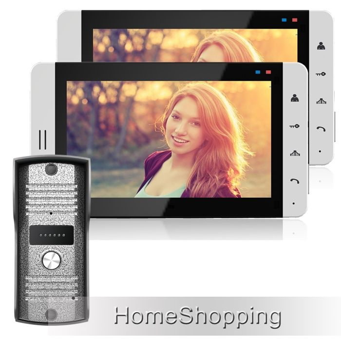 "145.34$  Watch now - http://alicll.worldwells.pw/go.php?t=32407275726 - ""FREE SHIPPING Home phone Wired 7"""" TFT LCD Video DoorPhone Intercom System With 2 White Screens + Metal Outdoor Camera IN STOCK"""