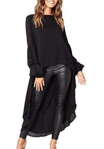 536d1a6223a6 PRETTYGARDEN Women's Lantern Long Sleeve Round Neck High Low Asymmetrical Irregular  Hem Casual Tops Blouse Shirt Dress (Black, Large)#deals #sale #Christmas