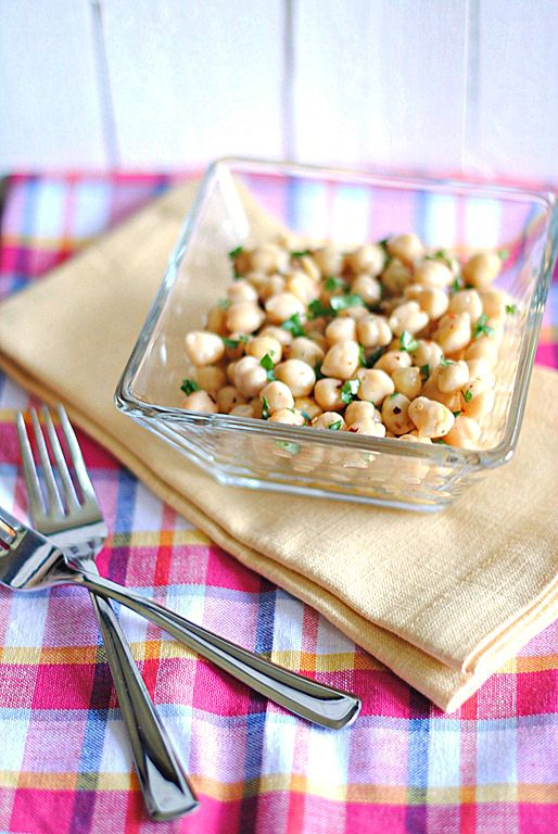 Lemony Chickpea Salad-   I had a similar version at a work function that included cucumbers, tomatoes, onion, green peppers (chopped up in tiny little pieces) with hot sauce, lemon juice  and parsley ... SOOOOOO good!