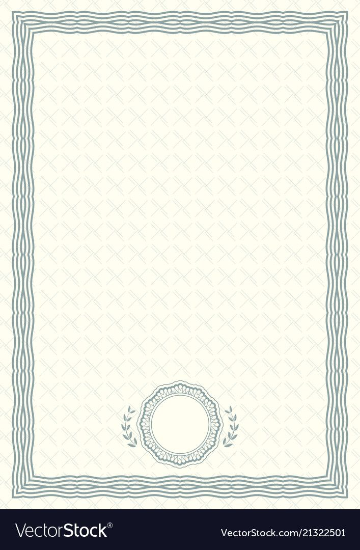 Official Light Green Certificate Of A4 Format With Green Guilloche Border Official Simple Green Certificate Certificate Background Blank Certificate Template