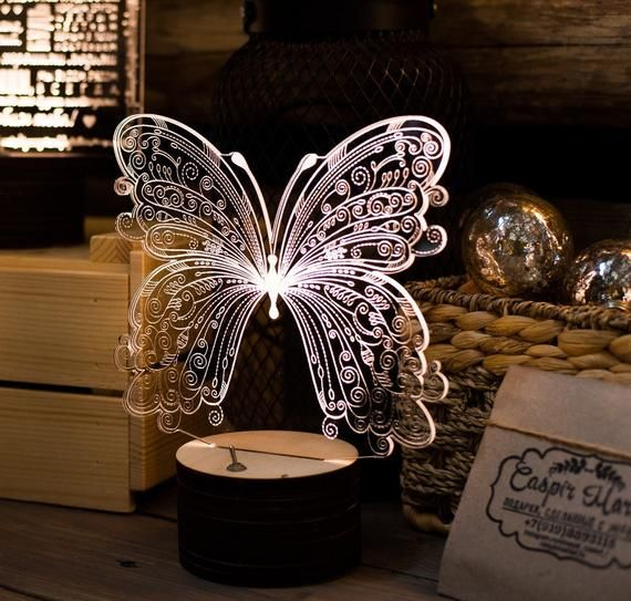 Butterfly 3d Illusion Acrylic Led Lamp This Cnc Files Dxf Etsy In 2020 3d Illusion Lamp 3d Illusions Butterfly Lamp