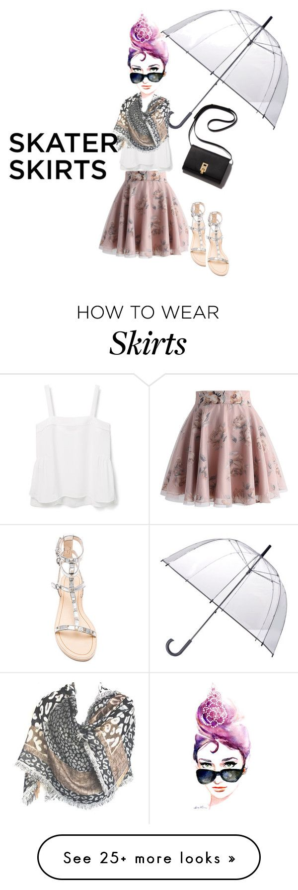 """""""Skater Skirt!"""" by stormi3 on Polyvore featuring Chicwish, Violeta by Mango, Totes, Rebecca Minkoff and skaterSkirts"""