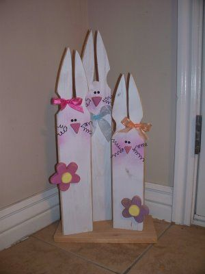 Bunny Trio, Easter & Spring Crafts, picket fence!!