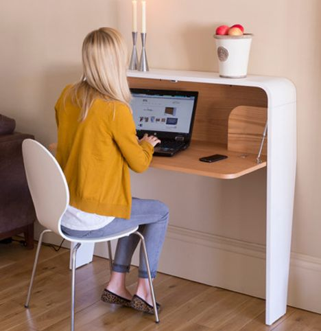 hidden office furniture. the modern hidden desk folds away which neatly hides your junk and appears to be office furniture