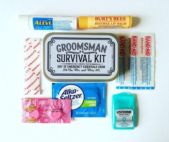 Groomsman Survival Kit, Groomsman Gift, Groomsmen Gift, Bridesmaid Gift, Wedding Party Gift, Wedding Survival Kit, Hangover Kit, UNFILLED