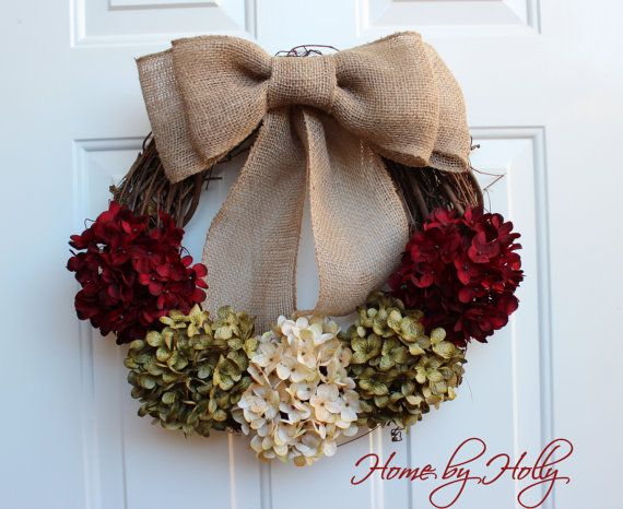 Christmas Wreath Red Green and Cream Hydrangeas on by HomeByHolly