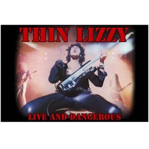 Official Thin Lizzy fabric poster flag featuring Live & Dangerous design.
