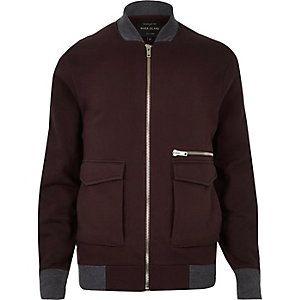 Dark red zip-up bomber jacket