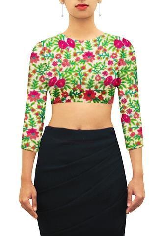 Floral threadwork closed U neck blouse.
