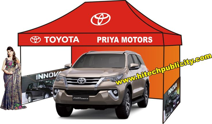car dealer can get more publicity and more sales with our canopy tents. display your cars in roadshow and get more enquires & sales. we supply the tents with printing and designing as per your choice, call: + 91 9246222211 / +91 9246372692.  visit : www.demotent.in, any size of tents for car dealers. we are India's No.1 Marketing Tents Suppliers Since 1991. High Quality Canopy Tents at Low Price