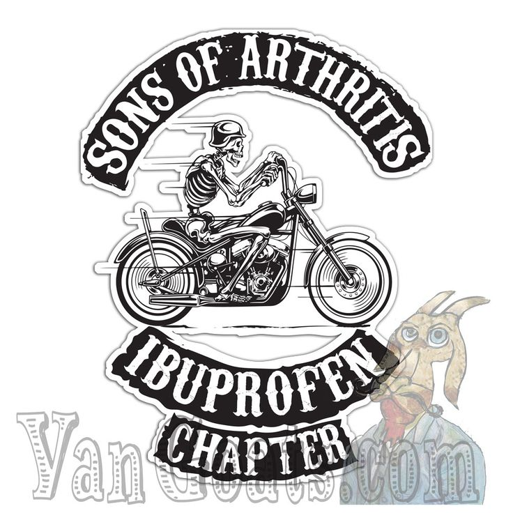 Sons Of Arthritis Sticker / Decal by VanGoats on Etsy Funny birthday gift biker, motorcycle, skull, fathers day gift idea, over the hill birthday