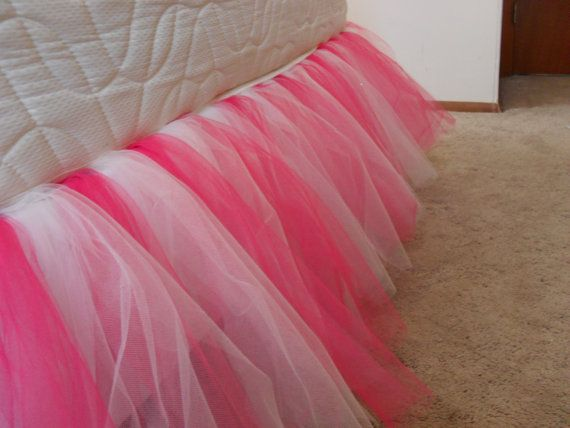 Princess Tulle Bed Skirt FULL Size In Hot Pink And Ivory