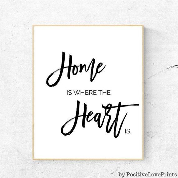 Home Is Where The Heart Motivational Inspirational Quote Poster Print Wall Art