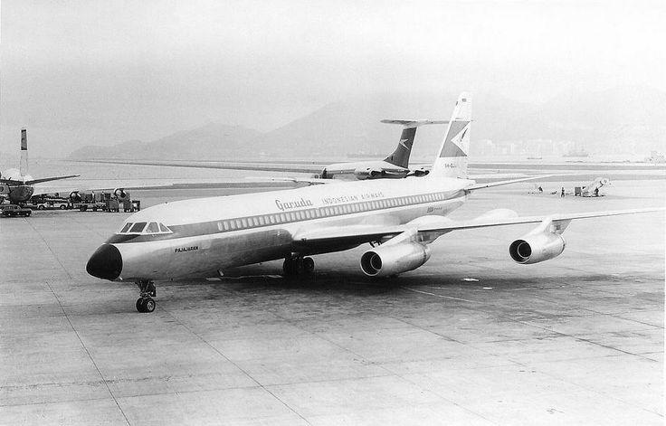 Garuda Indonesian Airways CV-990A PK-GJA Pajajaran at HKG Kai Tak 1968