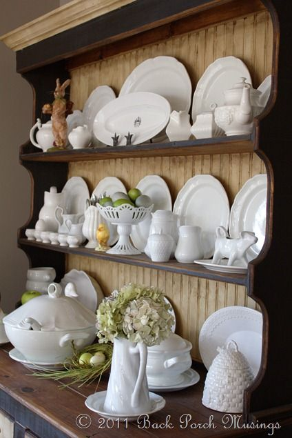 I Think Would Like White Misc Dishes On The Dresser In Dining Room Hutch DisplayDish