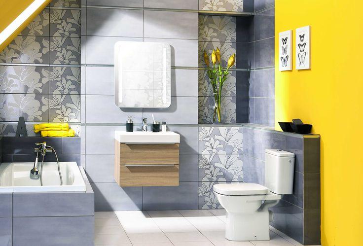 łazienka z żółtym energetycznym  wykończeniem  #łazienka #obipolska #diy