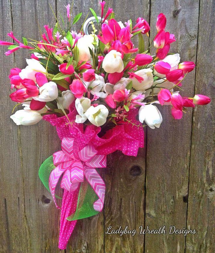 Spring Umbrella Wreath, Summer Umbrella Wreath, Tulip Wreath, Easter Wreath, Everyday Wreath by LadybugWreathDesigns on Etsy
