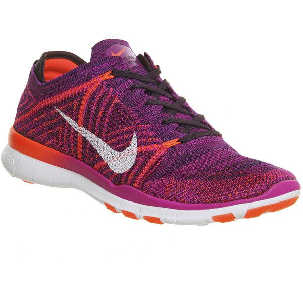 Nike Free Tr Flyknit ($160) ❤ liked on Polyvore featuring shoes, hers trainers, hyper volt crimson purple, trainers, breathable shoes, low profile shoes, nike, nike footwear and flyknit shoes