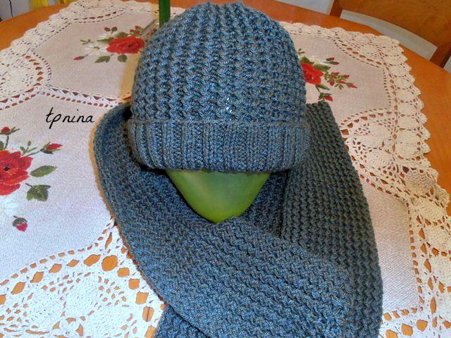 צעיף וכובע אפורים לגבר - סבתא מבשלת וגם...סורגת - תפוז בלוגים