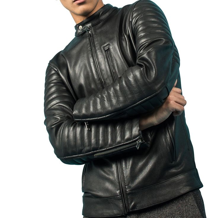 Black Cowhide Leather Quilted Moto Biker Jacket - SB2