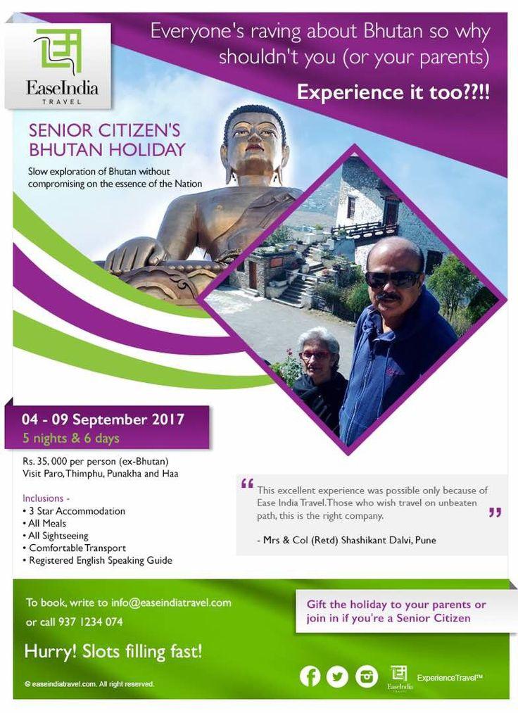 An exclusive Bhutan holiday for senior citizens - 04-09 September.