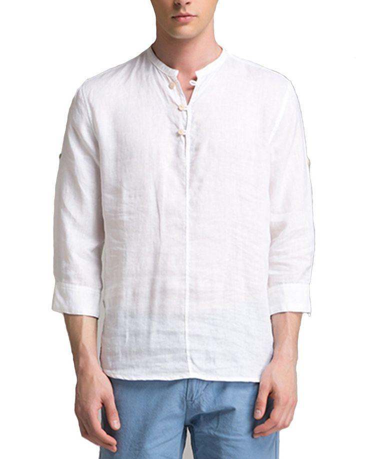 BYLUNTA Men's Linen Long Sleeve Collarless Henley Shirt (US L(Asian-4XL), White)