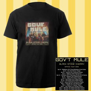Gov't Mule + Black Stone Cherry spring tour dates apr-may 2018 black tees; Material 100% cotton, Basic style; Short sleeve;