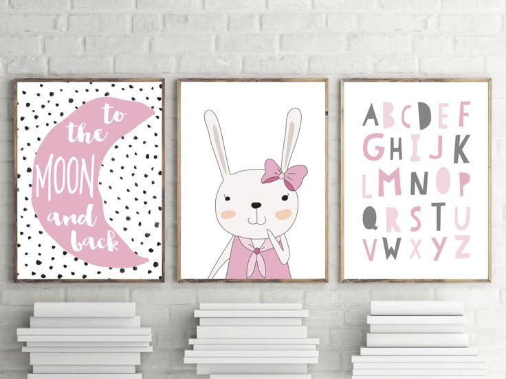 Girls Nursery Or Bedroom Prints  Pink Alphabet, Bunny, To The Moon And Back  Prints   Kids Wall Art Decor  Modern Print  Set Of By TheKidsPrintStore On  Etsy