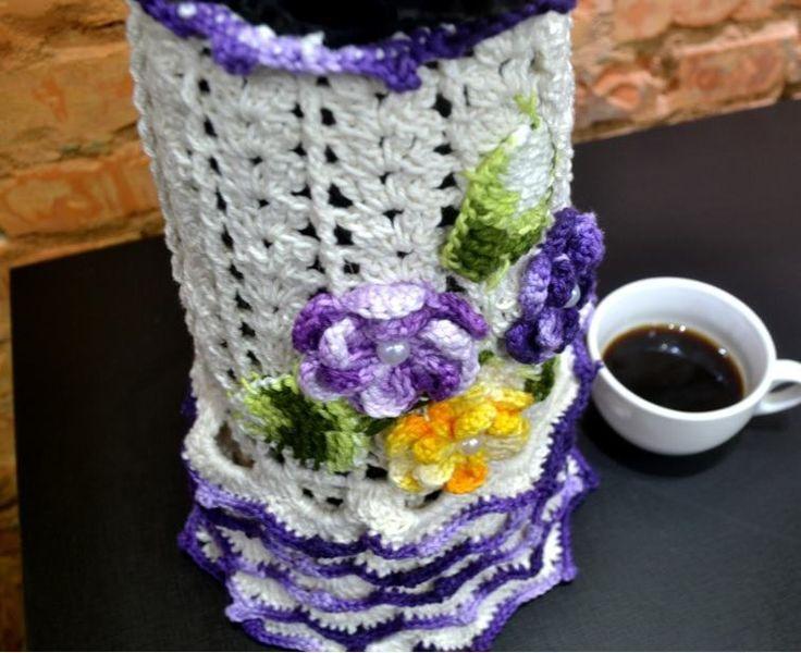 aprenda fazer uma capa para garrafa termica de croche