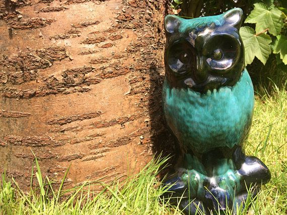 Vintage blue mountain pottery owl / vintage owl figurine /