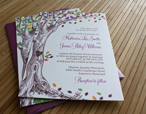 Rustic Autumn Tree Wedding Invitation with Carved Initials and Love Birds in Green, Brown, Orange, Purple,  Red