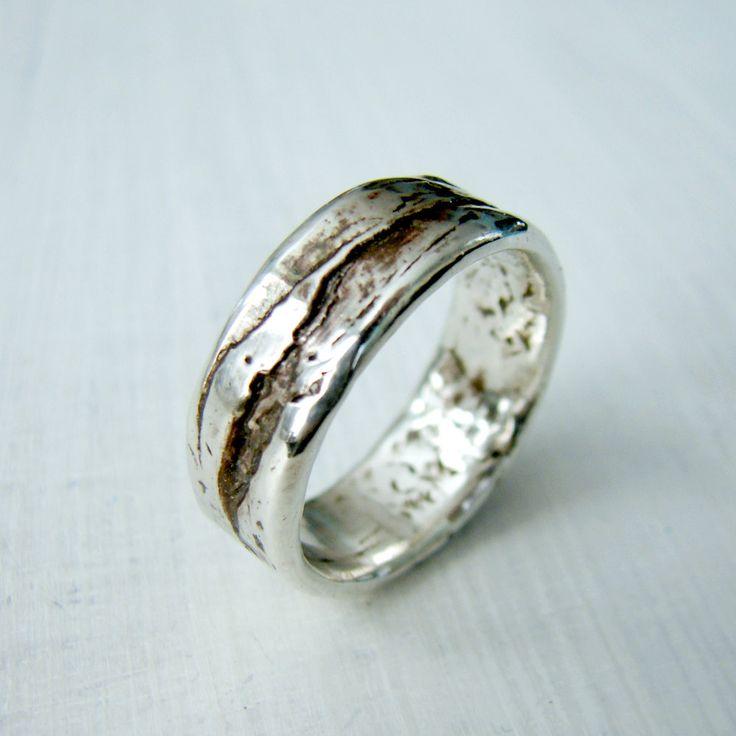 Simple Silver Birch Bark or Wood Grain Wedding by OneLoomStudio, $140.00