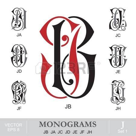 letra j tipografÍa: Vintage monogramas JB JA JC JD JE JF JH Vectores