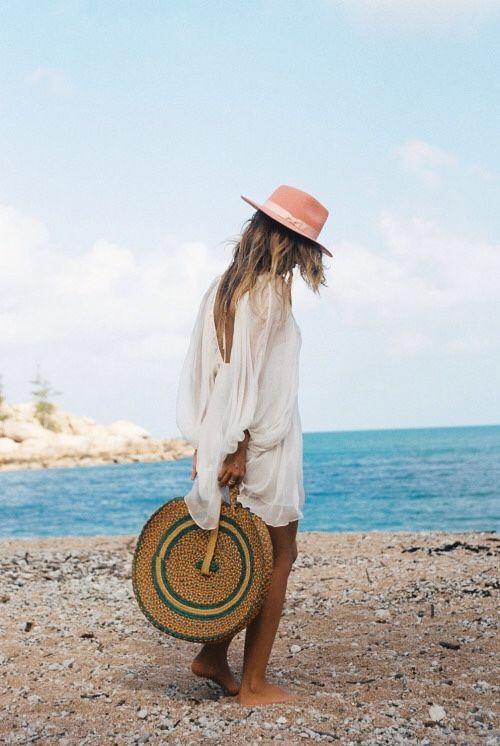 pink hat + round straw tote