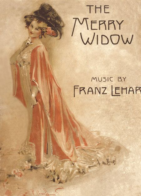 The cover of a Merry Widow souvenir songbook by Talbot Hughes
