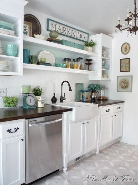 Painted cabinet shelves and styling inspiration: when there isn't a window above the sink