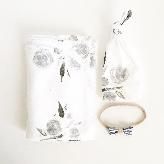 Baby Swaddle Blanket - Grey Watercolor Floral Swaddle, Exclusive print to Finn & Olive