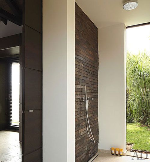 wolfgang ludes st barths the master shower is wall of balinese slate tile and - Sdb Chocolat Taupe