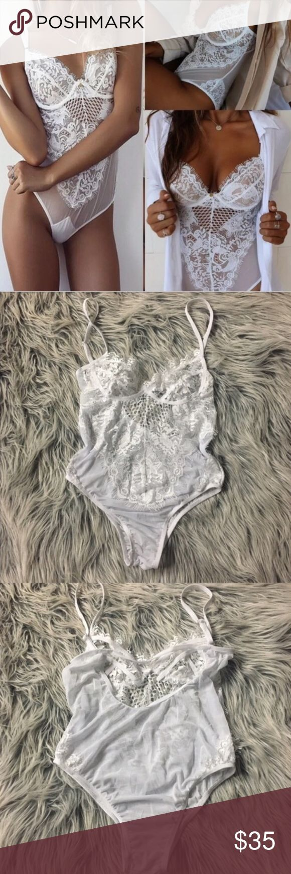 Sexy white lace teddy lingerie New, never worn. Sexy white lace teddy. Fits xs and s. Thank you for visiting my closet, please let me know if you have any questions. I offer great discounts on bundles  also available in black, see separate listing. lucy6mahon Intimates & Sleepwear