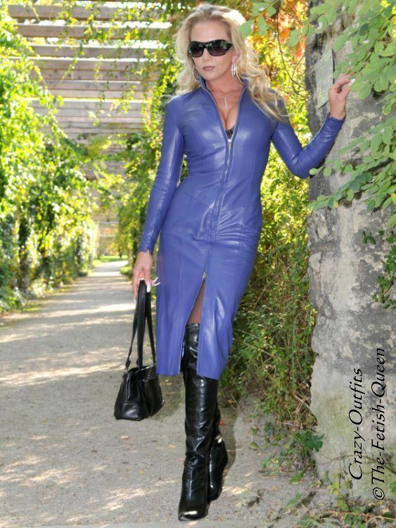 3a97deff9ca Lederkleid Kleid Lila Langarm Knielang Stehkragen Größe 32 - 58 XS - XXXL