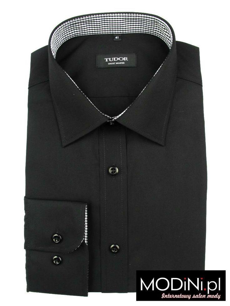 Czarna koszula z jasnym kontrastami #czarna_koszula #black_shirt