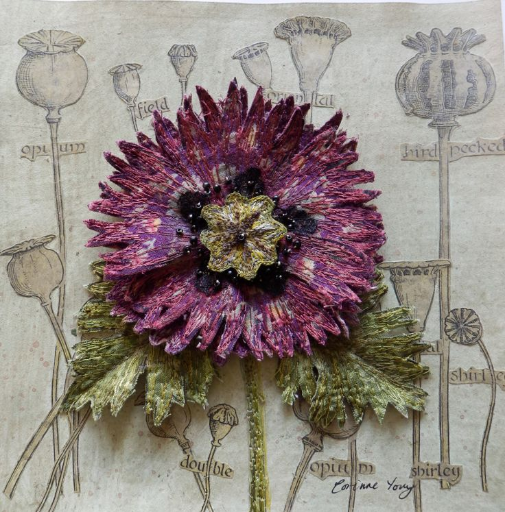 Botanical embroidery, textile art, 3d assemblage, by Corinne Young
