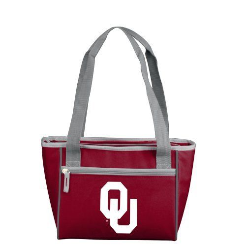 NCAA Oklahoma Sooners 16-Can Cooler Tote by Logo Inc. Made of 600 polyester fabric; Lined with heat sealed, leak proof liner. Zipper pocket on side for additional storage. Screen printed logo on side of tote. Two straps for easy carrying. Holds 16, 12 oz. cans plus ice.