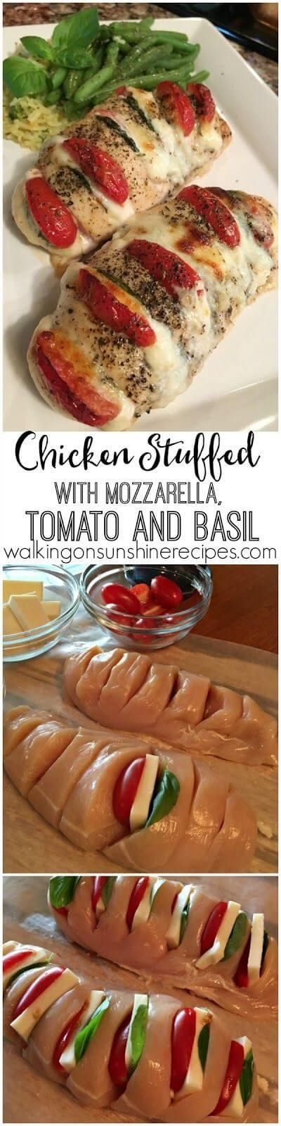 Chicken Stuffed with Mozzarella, Tomato and Basil Recipe