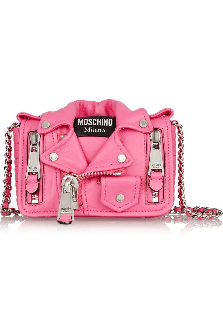 Bolsa Pink com estilo de jaqueta de couro. #bolsa #moda #style #fashion