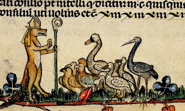 Reynard the Fox wearing Bishop's mitre,peaching to birds-falcons chickens, geese stork and swan. France 13-14th cent. Brit Lib.