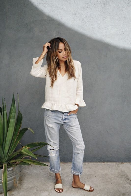 Blouse and ripped jeans -- Spring outfit inspiration