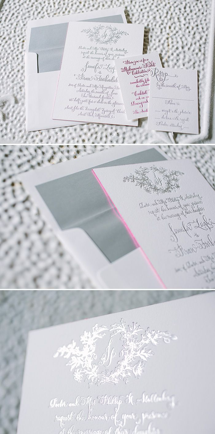 Custom Bescal calligraphy wedding invitations